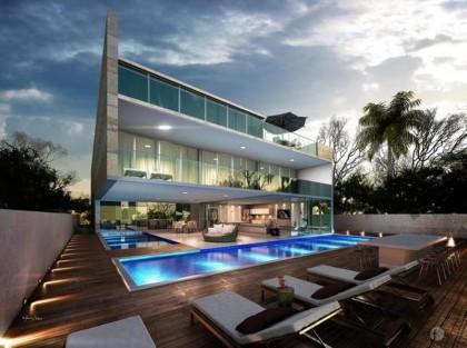 Arquiteto Cria Mans O Com Salas Cercadas Por Piscinas Proma
