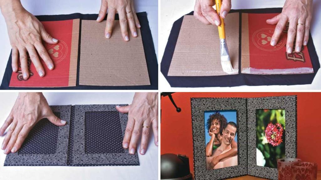 decoracao de interiores faca voce mesmo:Recicle as caixas de papelão e faça porta-retratos para decorar o