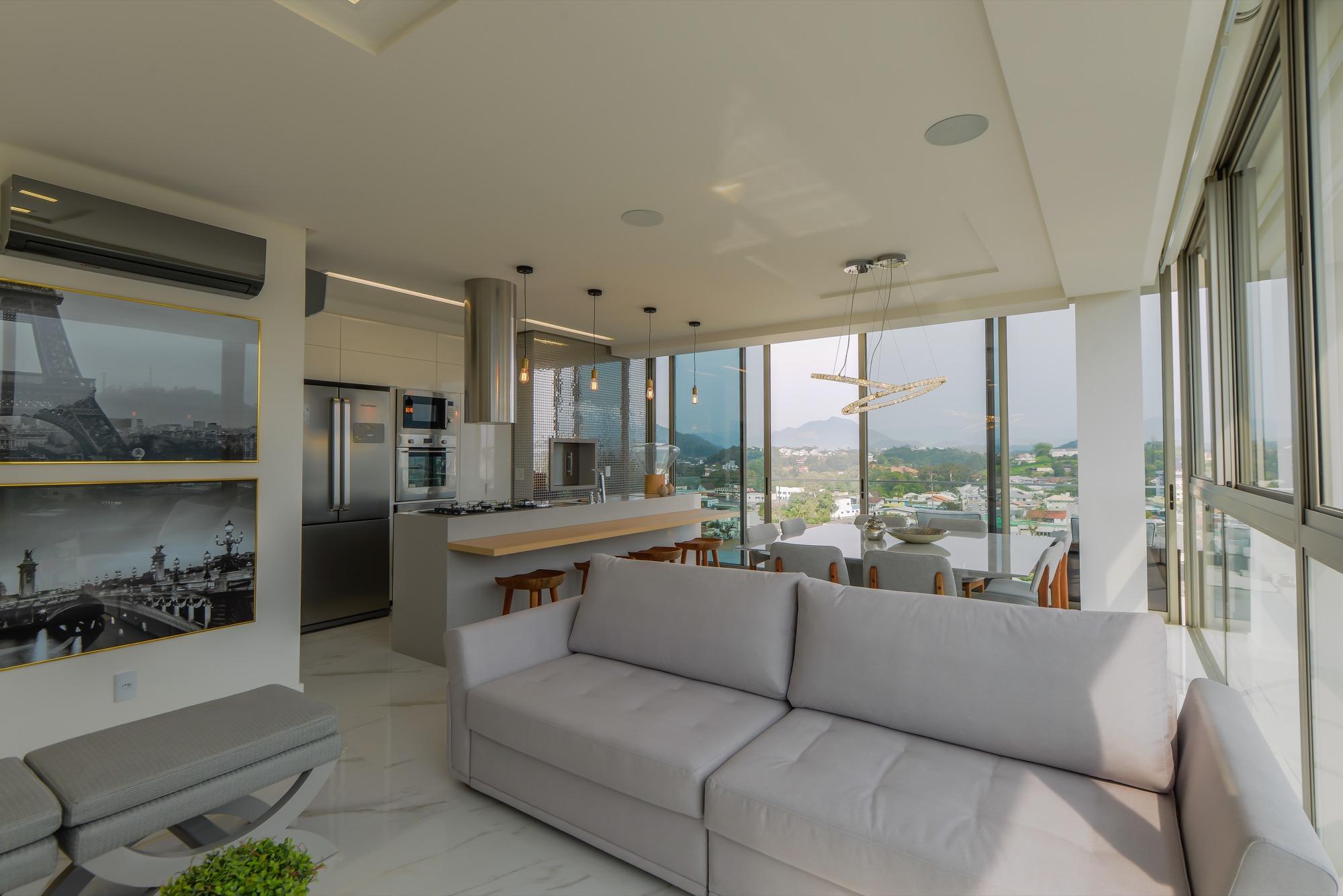 Entre E Encante Se Seja Bem Vindo Ao Apartamento Decorado Do Lumina  -> Sala Toda Cinza